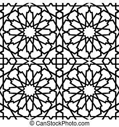 Islamic Star Tile BW