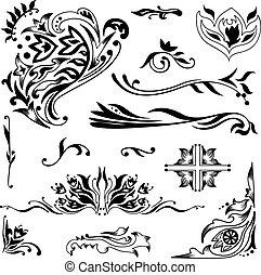 Set of elegant vector ornaments with Islamic motifs