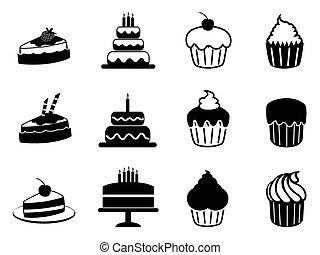 isolated black cake icons set from white background