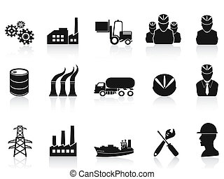 isolated black industry icons set on white background