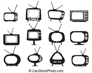 isolated black retro tv icons set on white background