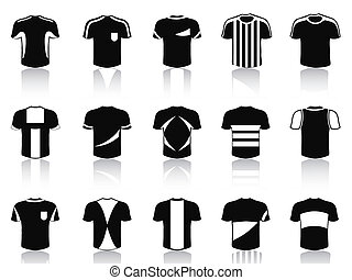 black t-shirt soccer clothing icons set