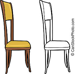 Single isolated dining chair on white background