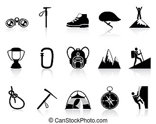climbing mountain icons set