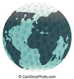 Isolated Golf Ball And Globe