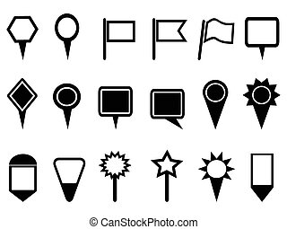 isolated map pointer and Navigation icons on white background