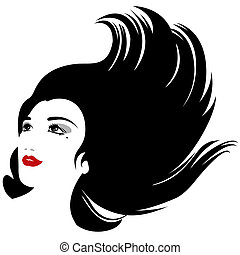 isolated vector woman with flowing hair silhouette