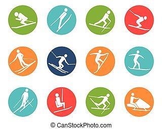 winter ski button icons set