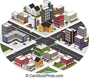 isometric scene of big city