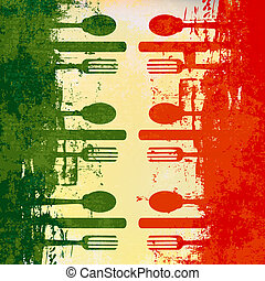 Italian Menu Vector template over a flag of Italy
