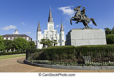 Jackson Square park with St. Peters Cathedral in the background in New Orleans