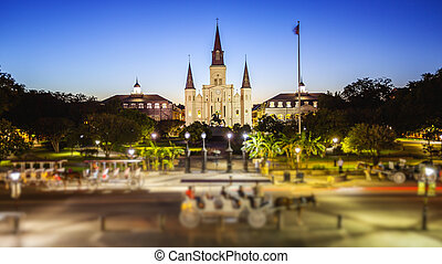 Jackson Square in New Orleans, Louisiana French Quarter at Night