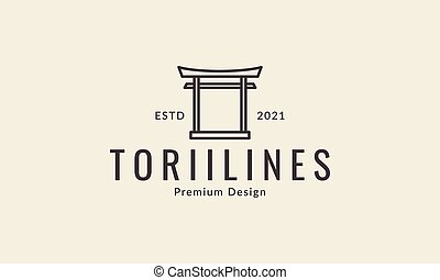 japan gate torii lines culture logo design vector icon symbol illustration