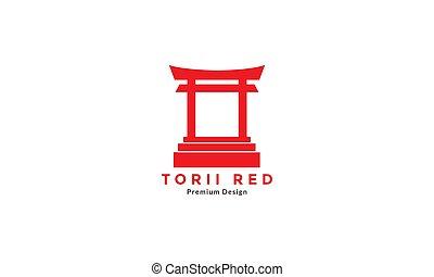 japan gate torii red culture logo design vector icon symbol illustration
