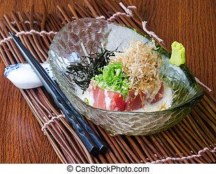 japanese cuisine. sashimi on background