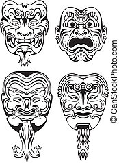 Japanese Noh Theatrical Masks. Set of black and white vector illustrations.