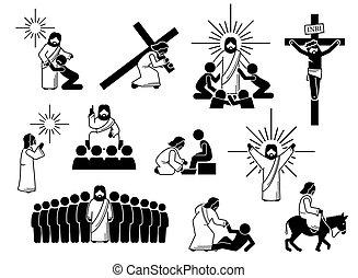 Jesus Christ stick figure, icons and pictogram.