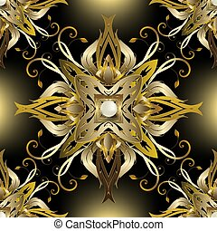 Jewelry gold Baroque 3d seamless pattern. Vector glowing floral background. Vintage Victorian baroque style luxury ornament. Repeat decorative royal backdrop. Golden flowers, leaves, surface pearls