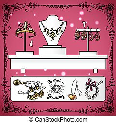 Jewelry shop display with exclusive sketch luxury wedding accessories vector illustration