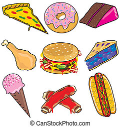 Junk food icons and elements