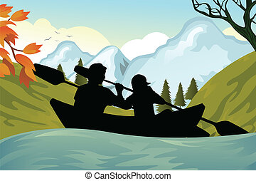A vector illustration of two people kayaking on the river