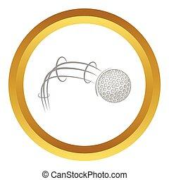 Kick of golf ball vector icon