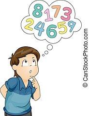 Kid Boy Thinking Numbers