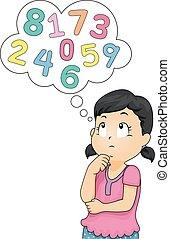 Kid Girl Think Numbers