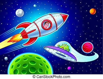 Cartoon of a boy in a rocketship blasting through outer space and sees an alien in a spaceship below him.