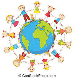 illustration of kids joining hand standing around the earth