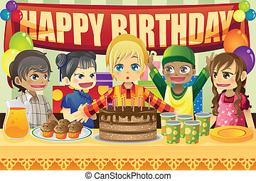 A vector illustration of multi-ethnic kids in a birthday party