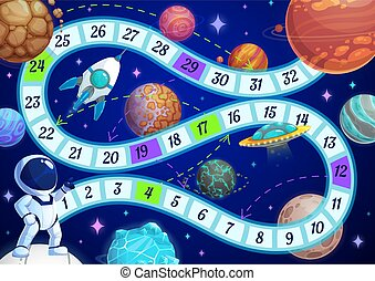 Kids board game with astronaut in space template