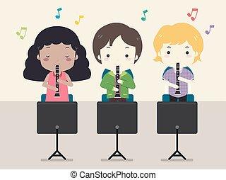 Kids Clarinet Music Class Illustration