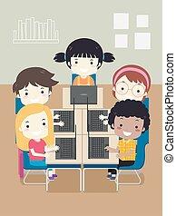 Kids Computer Class Laptop Illustration