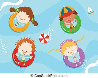 kids on inner tube