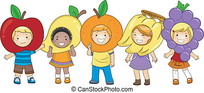 Illustration of Kids Wearing Fruit-Shaped Costumes