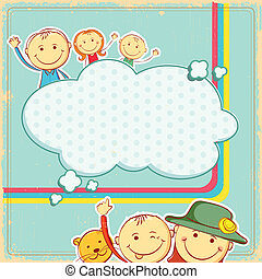 Kids in abstract background