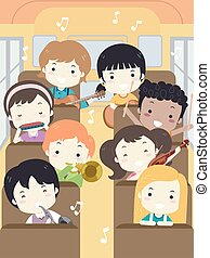Kids Music Camp Bus Illustration