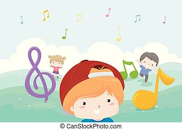 Kids Music Notes Play Illustration