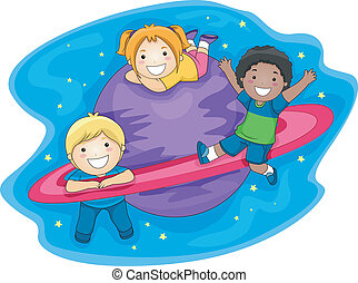 Illustration of Kids Playing in the Outer Space