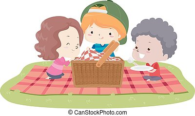 Kids Picnic Basket Blanket Illustration