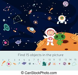 Kids picture puzzle with outer space and astronaut