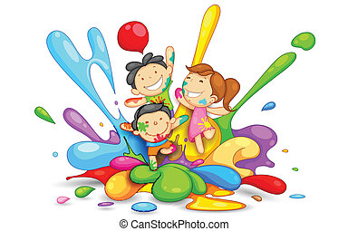 illustration of kids playing Holi with color and pichkari