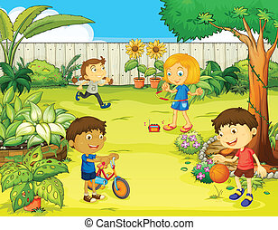 Illustration of kids playing in a beautiful nature