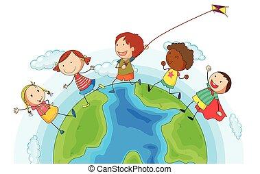 Kids running around the world