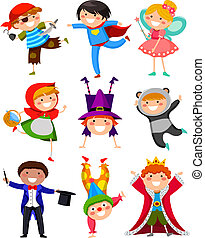 set of kids wearing different costumes