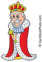 King holding sceptre - vector illustration.