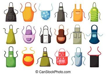 Kitchen apron vector cartoon icon set. Isolated cartoon set cook uniform. Vector illustration icon kitchen apron on white background .