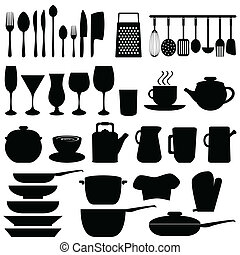 Kitchen objects and utensils in black