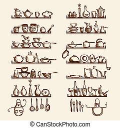 Kitchen utensils on shelves, sketch drawing for your design
